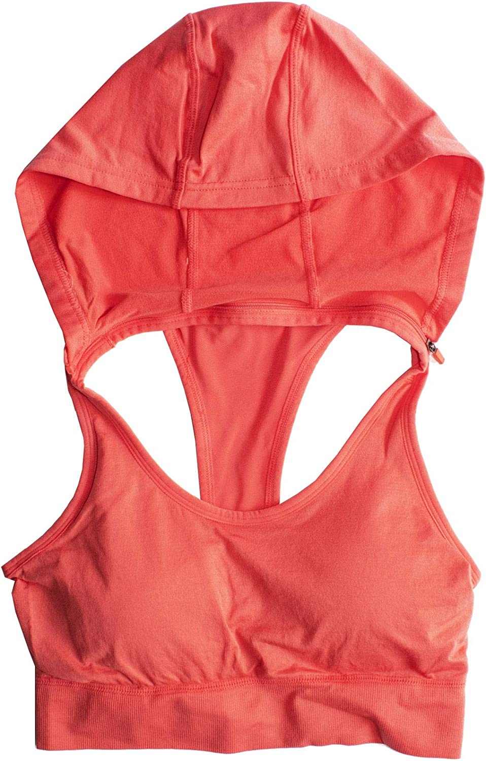 Runner Island Womens Coral Pink Sports Bra Hoodie with Strappy Open Back Racerback High Impact Running Workout