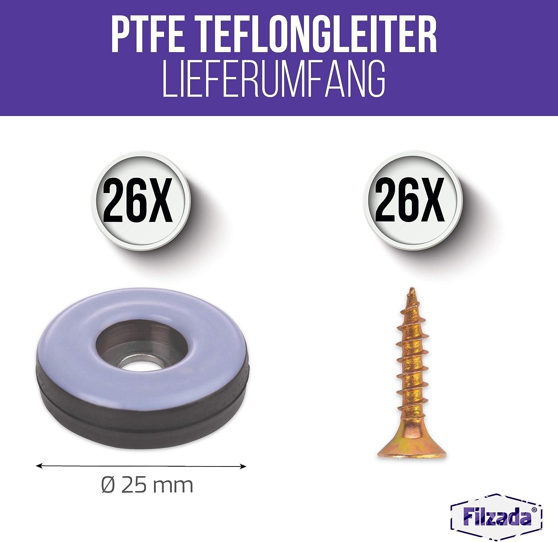 inkl Filzada/® 26x Teflongleiter zum Schrauben rund - M/öbelgleiter//Teppichgleiter PTFE /Ø 25 mm Schrauben Teflon