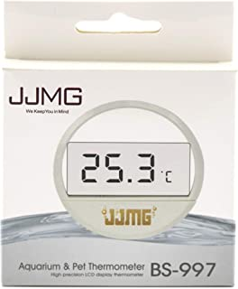 JJMG Fish Tank Thermometer LCD Digital Aquarium Water Terrarium Temperature New Stick-on Glass Round Thin Monitor Peel and Stick Easy Installation Fahrenheit Only
