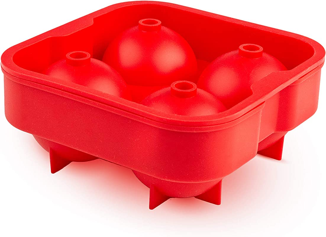 Silicone Sphere Ice Cube Trays Red Reusable Round Molds Flexible BPA Free Food Grade Safe Maker Reusable And Stackable Freezer Use Quick Release