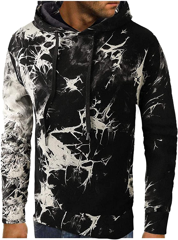 XUNFUN Mens Tie Dye Pullover Hooded Sweatshirts Long Sleeve Drawstring Casual Fashion Athletic Hoodies Blouse Plus Size
