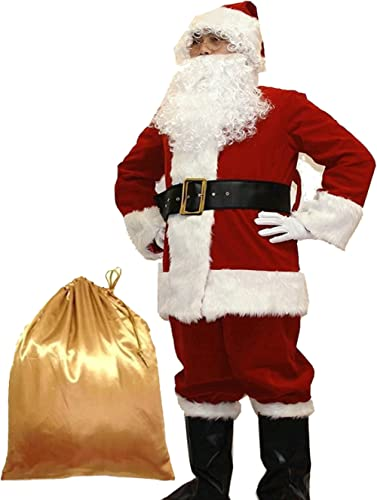 Potalay Men's Deluxe Santa Suit 10pc. Christmas Adult Santa Claus Costume