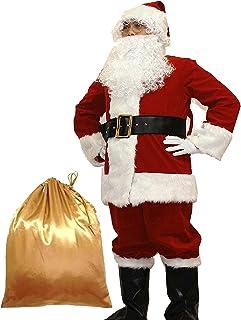 Potalay Men`s Deluxe Santa Suit 10pc. Christmas Adult Santa Claus Costume