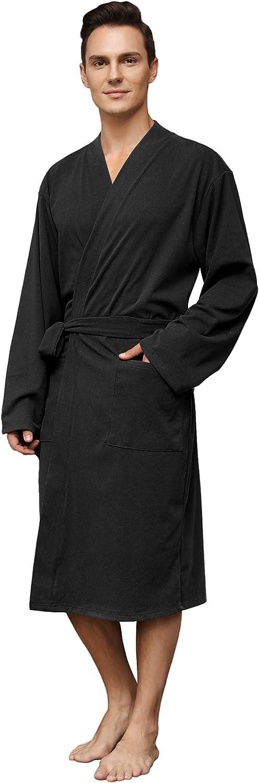 Vulcanodon Mens Lightweight Robe, Soft Robes for Men with Pockets Bathrobe Mens at  Men's Clothing store