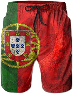 Retro Portugal Flag 3D Print Men's Beach Shorts Swim Trunks Workout Shorts Summer Shorts