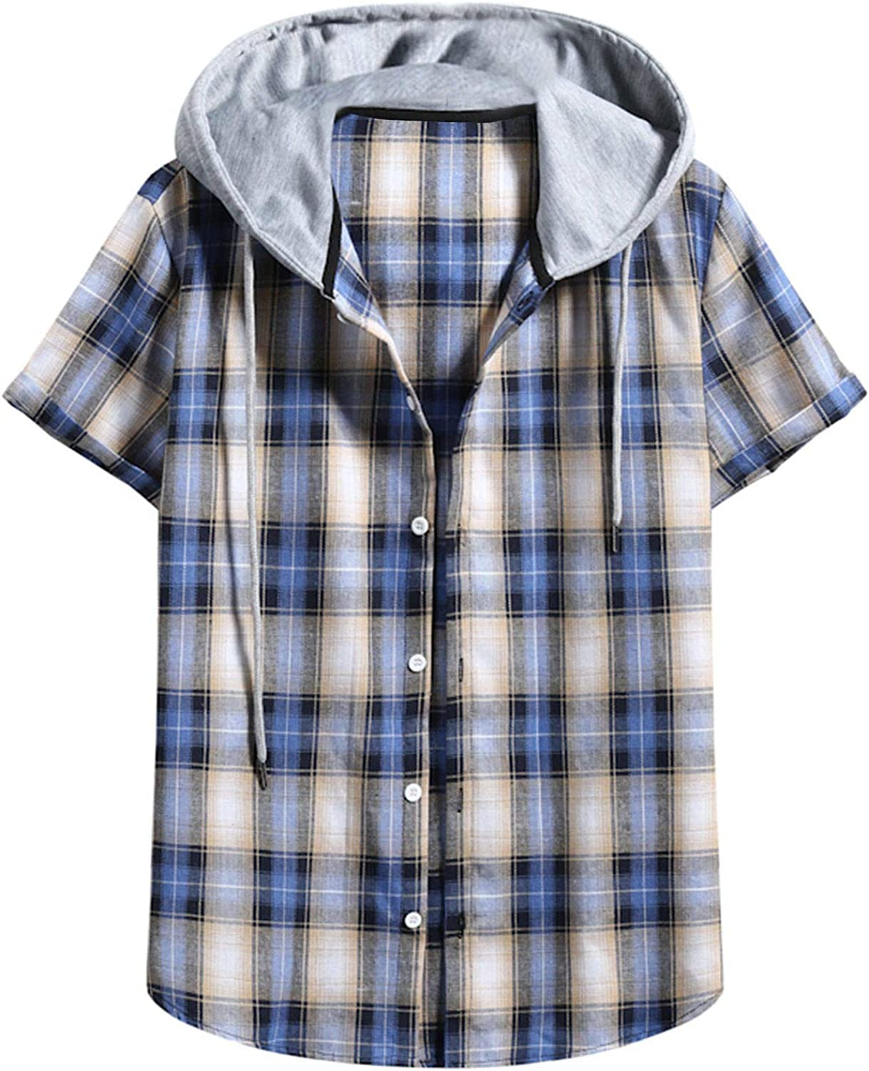 ZSBAYU Men's Plaid Flannel Shirt Casual Button Short Sleeve Tshirt Tops with Hood, Juniors' Checkered Hooded Shirts