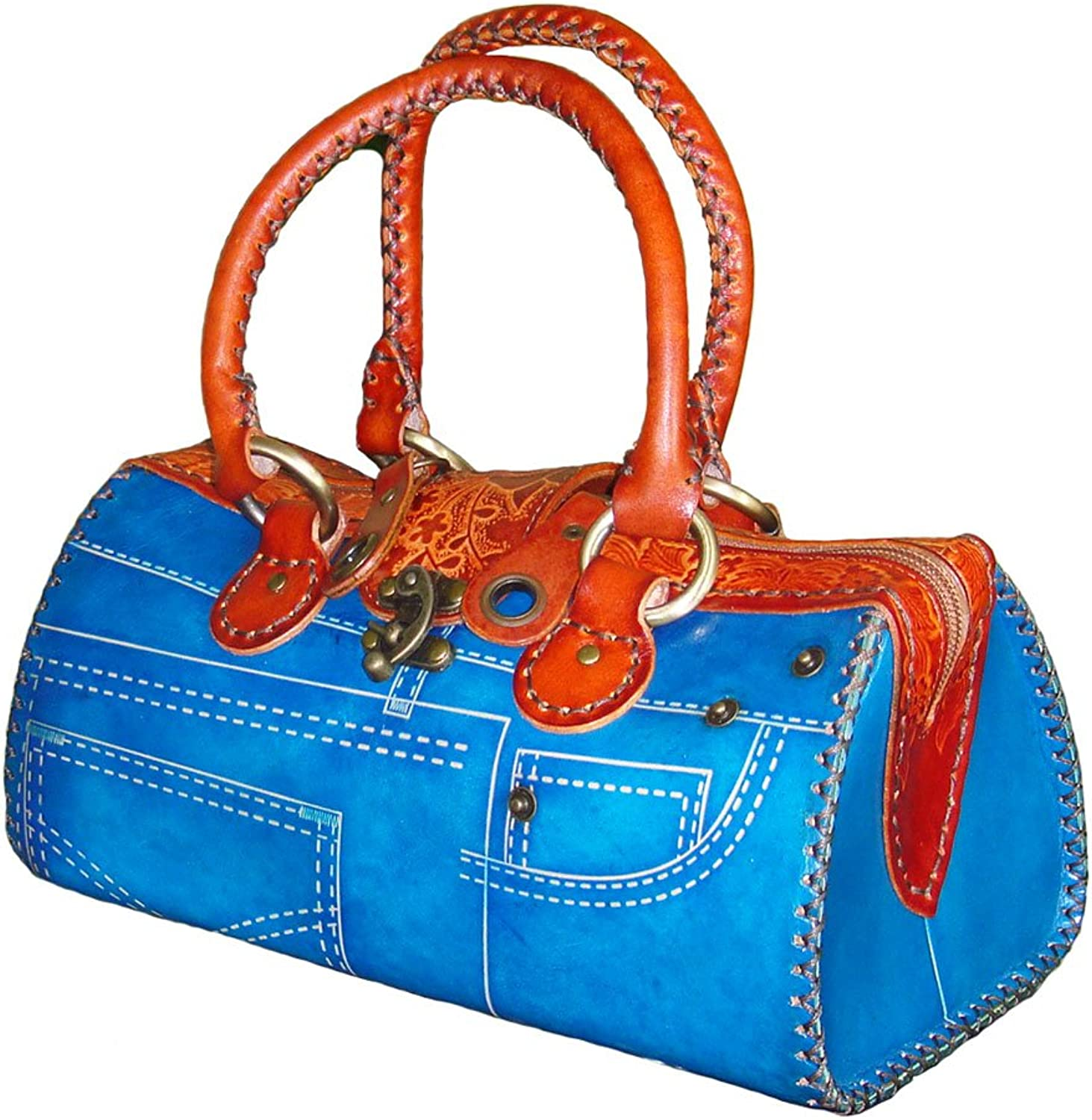 Genuine Leather Handbag with Jeans Designs,attractive bluee.truly Handmade,unique   (Medium)