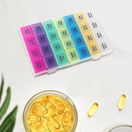 Xianco Pill Medicine Organizer Reminder Storage Box 7 Day Medicine planner Pill Organizer Weekly Pill Organizer 4 Times 28 Days Snap Lids Medicine Storage Organizer Container Multicolor Pack 1