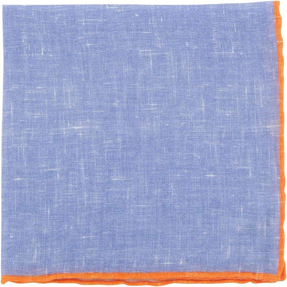 Fiori Di Lusso Blue Solid Linen Pocket Square - x