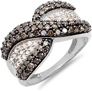 0.95 Carat (Ctw) 10K White Gold Round Champagne And White Diamonds Right Hand Ring Band 1 CT (Size 8)