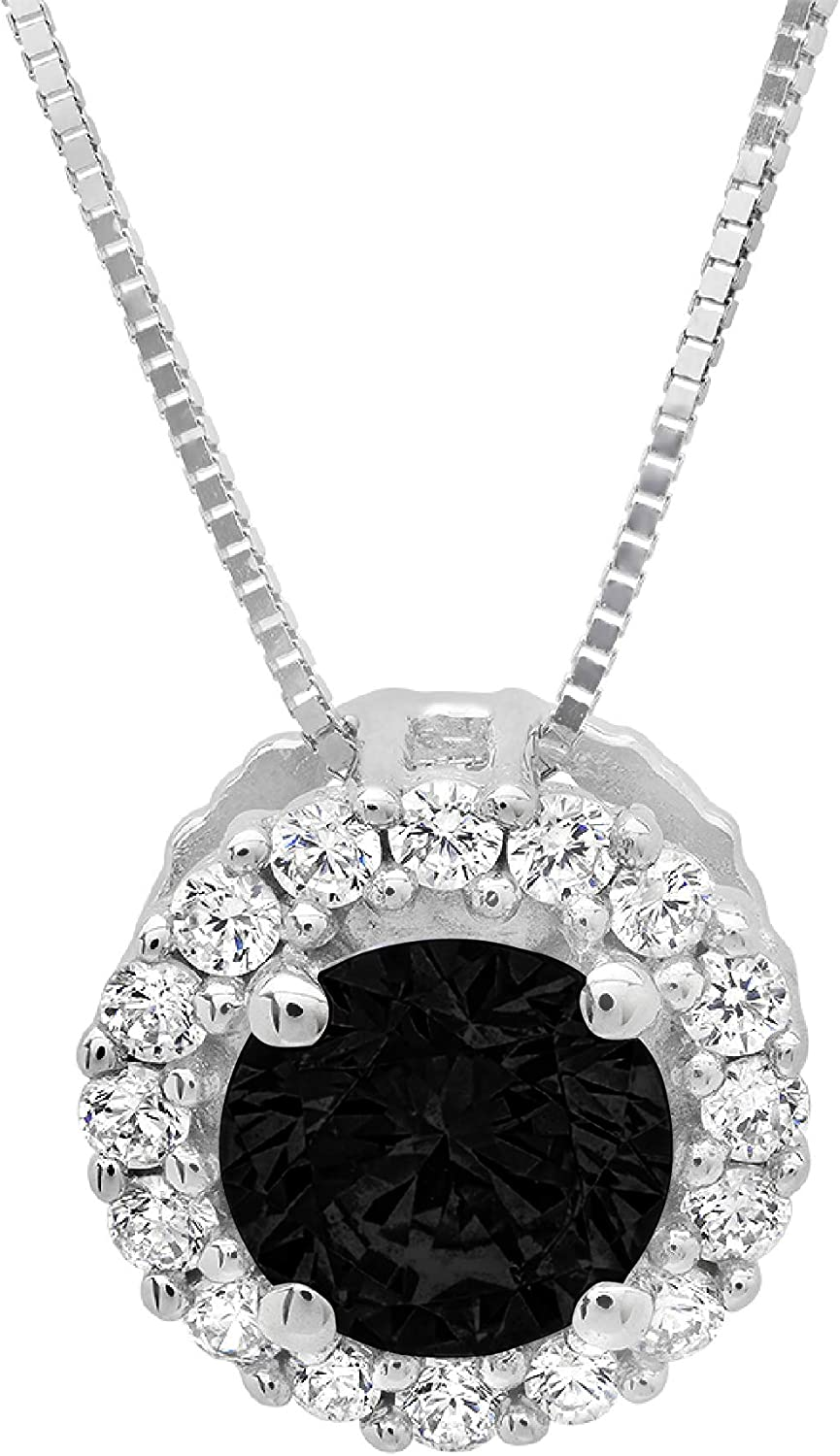 Clara Pucci 1.4 ct Brilliant Round Cut Pave Halo Stunning Genuine Flawless Natural Black Onyx Gemstone Solitaire Pendant Necklace With 16