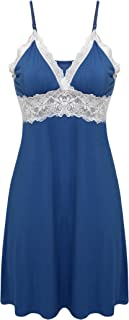 Sleepwear Womens Chemise Nightgown Full Slip Lace Lounge Dress