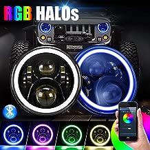 "SUPAREE 7 inch LED Headlights RGB Halo Angel Eyes 7"" Round DRL Bluetooth Remote Control for 1997-2017 Jeep Wrangler JK LJ TJ Sahara Sport Rubicon Hummer H1 H2"