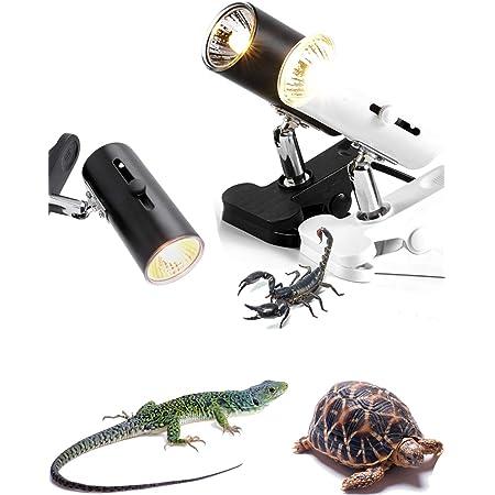 Wagooly Reptile Heat Lamp Fixture - Reptile Heater Turtle Lamp W/ Heat Bulb, Temperature Switch Reptile Basking Light, Heat Light for Gecko Bearded Dragon Terrarium & Aquarium - Heat Clamp Lamp (50)