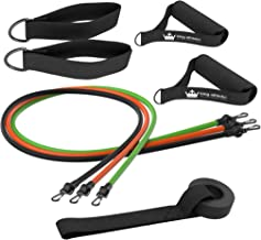King Athletic Resistance Bands with Handles & Door Anchor :: Rubber Stretch Fitness Training Tube Band Set Comes with Leg Straps and Exercise Chart :: Includes Free Instructional eBook