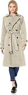 LONDON FOG Women's 3/4 Length Double-Breasted Trench Coat with Belt