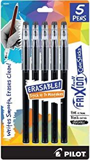 PILOT FriXion ColorSticks Erasable Gel Ink Stick Pens, Fine Point, Black Ink, 5-Pack (32441)