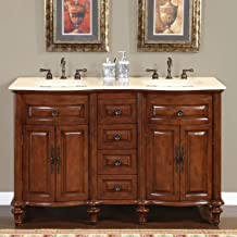 Silkroad Exclusive HYP-0719-CM-UIC-55 Marble Stone Top Double Sink Bathroom Vanity with Cabinet, 55
