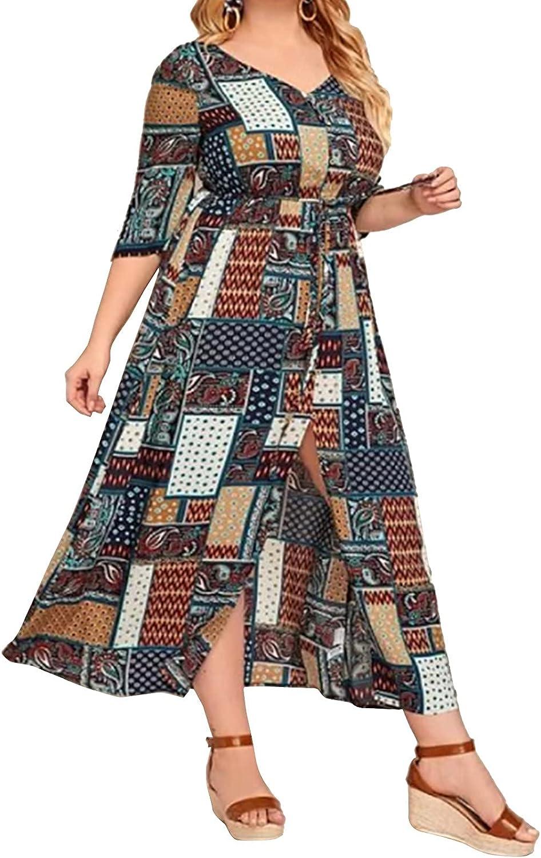 Women Plus Size Dress Wrap V Neck Floral Bohemian Split Casual Maxi Dresses