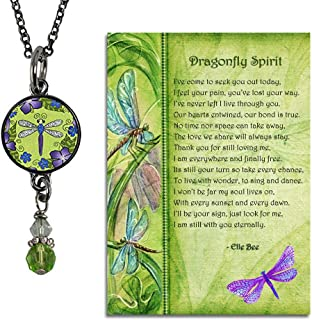 Lola Bella Gifts and Spirit Lala Dragonfly Spirit Reversible Bead Drop Necklace with Backside Quote Love Never Dies and Poem Card, Gift Box Grief Sympathy Gift