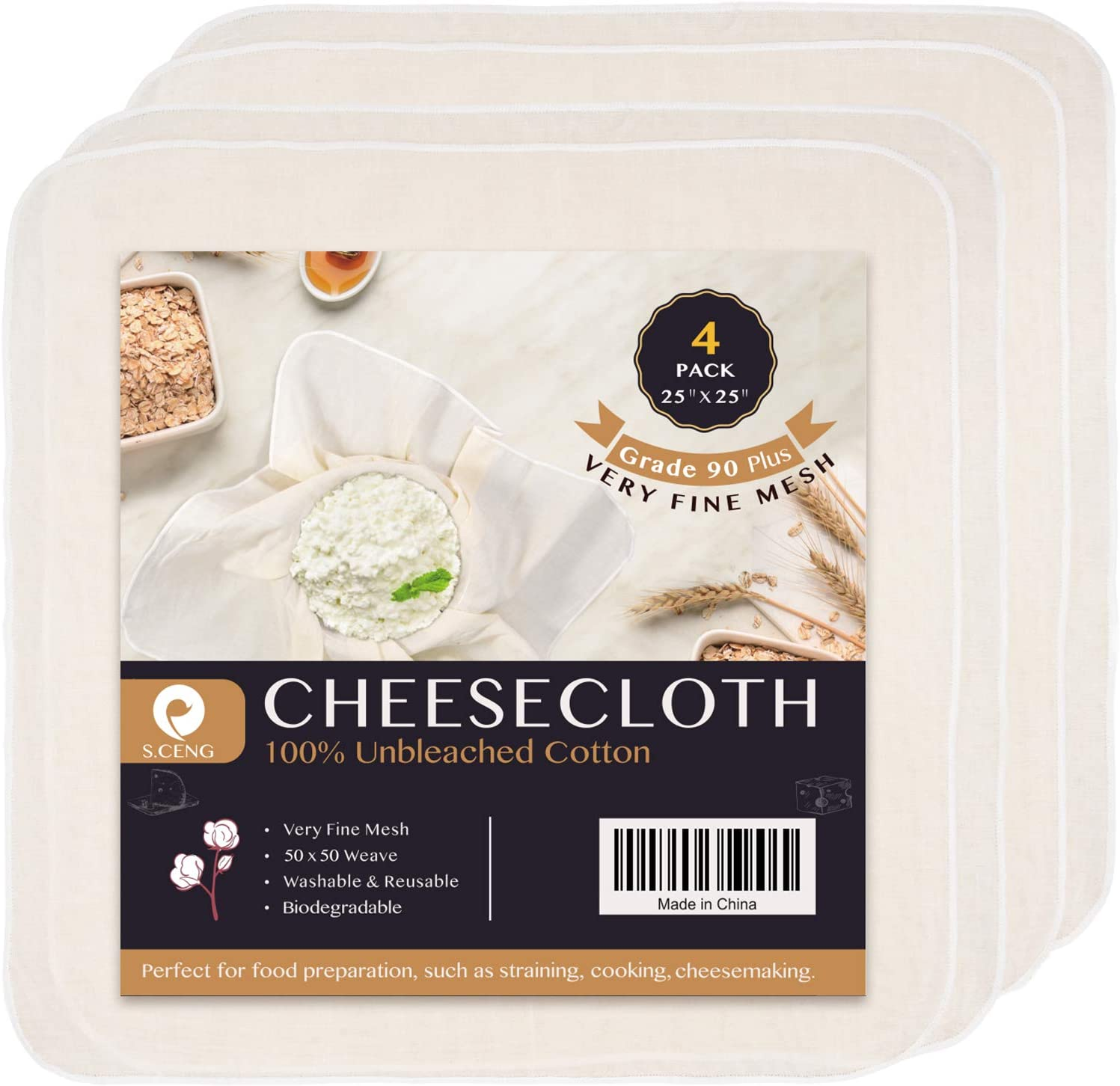 Precut Cheesecloth 25 x low-pricing 25'' SALENEW very popular! 4 Pack Weave Fine 50 Ultra