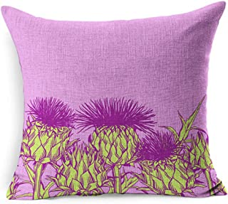 Ahawoso Linen Throw Pillow Cover Square 20x20 Green Bloom Pattern Onopordum Acanthium Scottish Thistle Nature Blooming Blossom Botanical Botany Bud Detail Pillowcase Home Decor Cushion Pillow Case