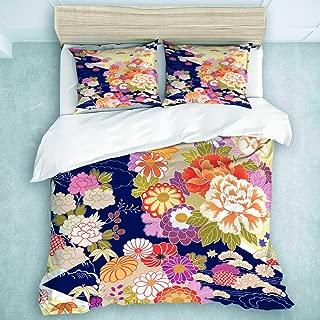 MOASTORY 3 Piece Duvet Cover Set, Japanese Traditional Kimono Motifs Composition Asian Ethnic Floral Patterns Vintage, Quilt Set Soft Kids Girls Set, King Size