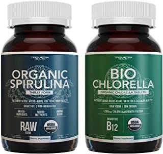 Organic Spirulina Tablets Plus Organic Chlorella Tablets - 4 Organic Certifications for Both, Raw Form - 120 Tablets for Both