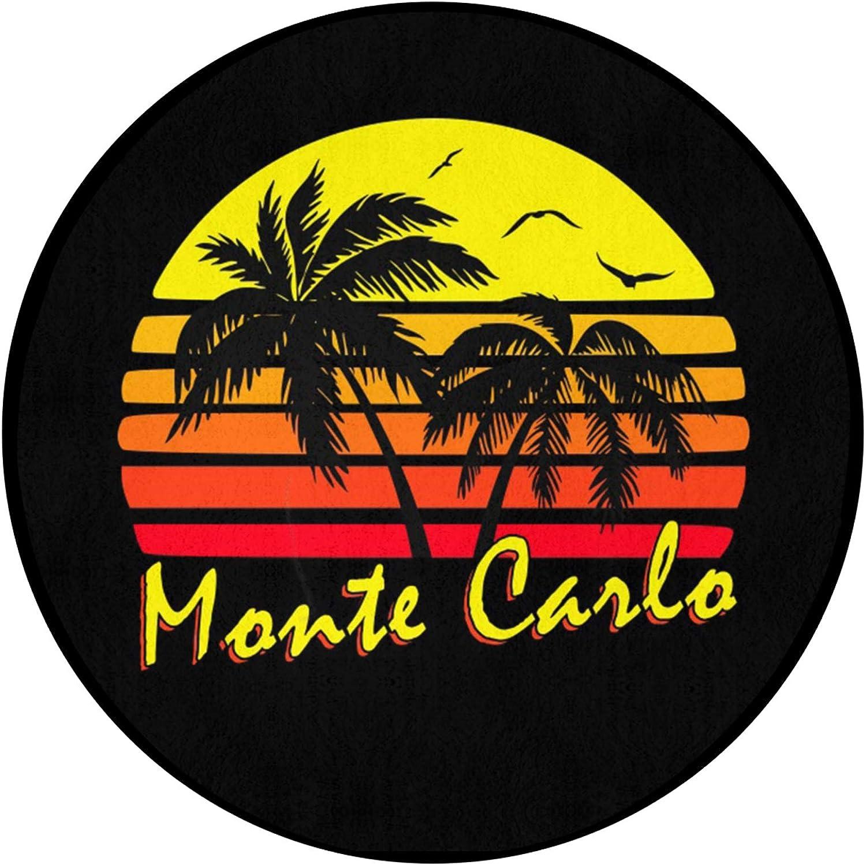 FRSH MNT Monte Carlo Retro Sunset Selling rankings Hom wholesale Round Non-Slip Durable Mat