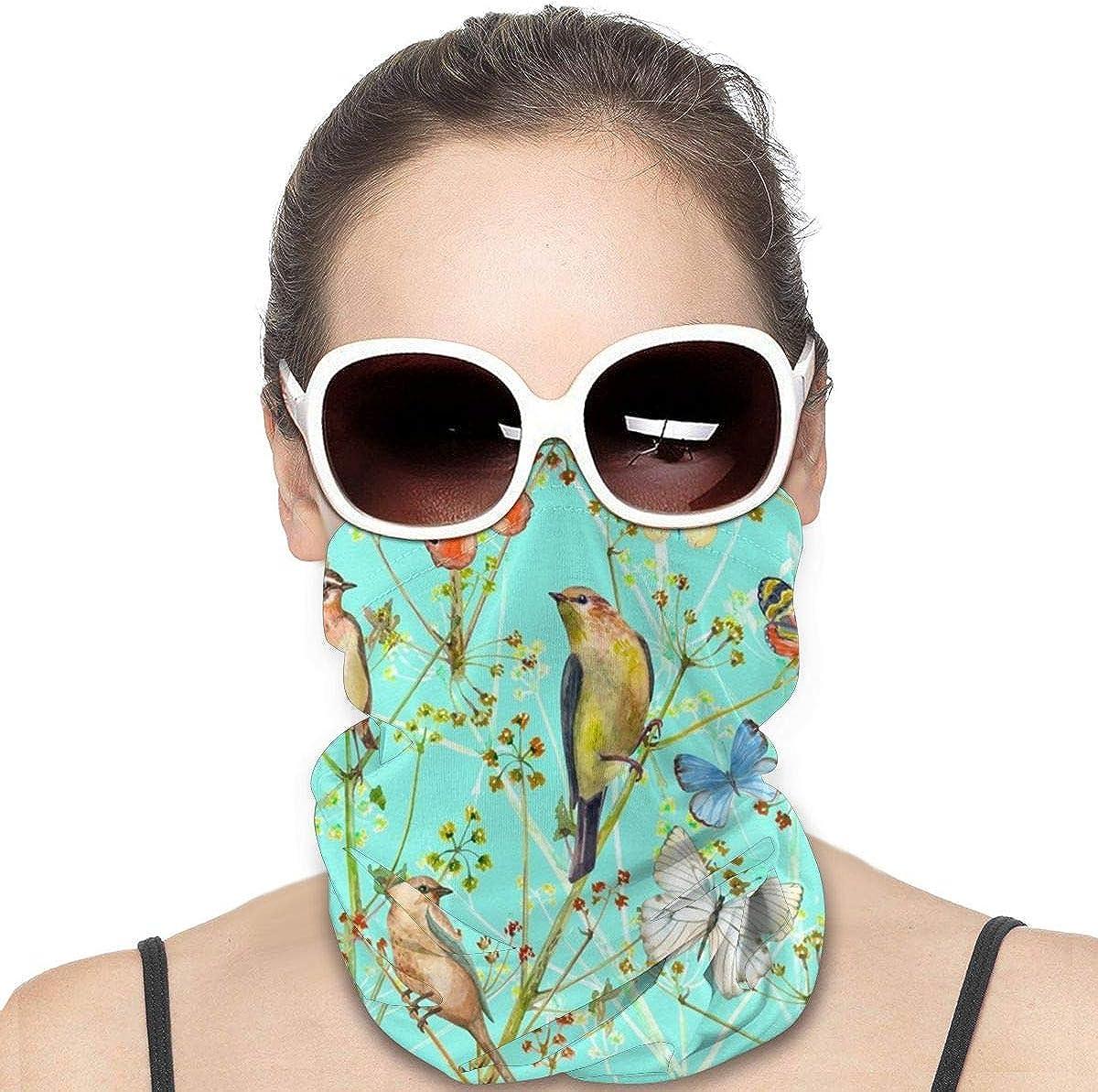 KiuLoam Women Bandanas Face Mask, Birds and Butterflies Neck Gaiter Mask Headband for Men Face Scarf Dust, Outdoors, Sports
