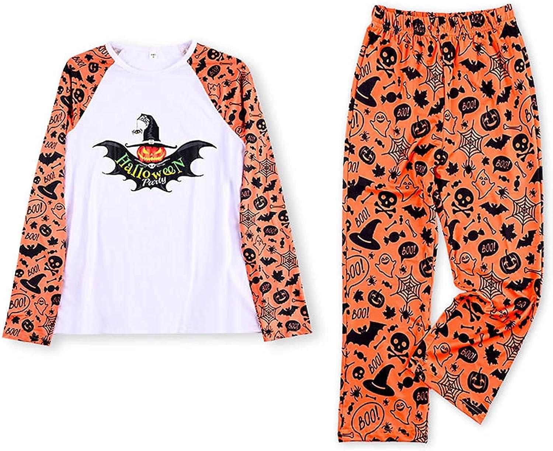 Halloween 2 Piece Outfits Matching Family Pajamas Kawaii Jack-O-Lantern Sleepwear Set Mom Dad Long Sleeve Tops