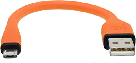 dCables Bendy & Durable Short Micro USB Charging Cable - 7 Inch - Orange - for Android