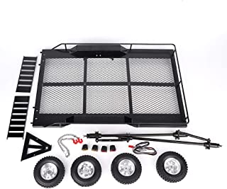 Tbest 1/10 Car Trailer, Metal Trail Car Trailer Accessory with Four Tires Fit for TRX4 1/10 RC Car