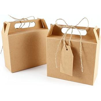 25 unds Caja Bolsa de Papel Kraft con Etiqueta Cinta para Dulces Regalos Recuerdo Detalle para Boda (marrón): Amazon.es: Hogar