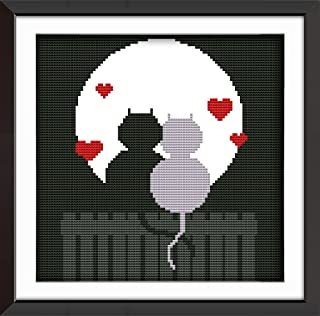 Cross Stitch Kits, Couple Cat Silhouette Love, Animals Awesocrafts Easy Patterns Cross Stitching Embroidery Kit Supplies Christmas Gifts, Stamped or Counted (Cat, Counted)