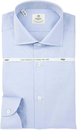 LUIGI BORRELLI Homme S502270 Bleu Claire Coton Chemise