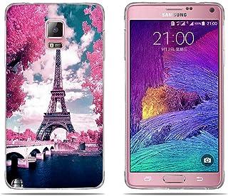 FUBAODA Funda Carcasa para Samsung Galaxy Note 4, Gel de Silicona TPU, Diseño Romántico de la Torre Eiffel, Carcasa Protectora de Goma Samsung Galaxy Note 4 (5.7