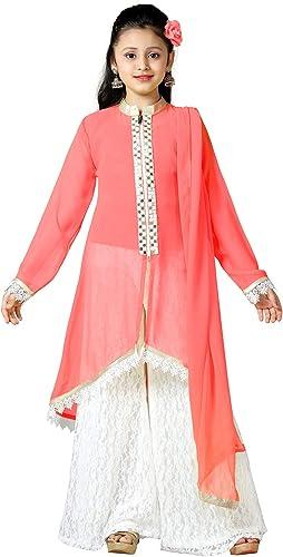 Aarika Girl's Self Design Party Wear Palazzo Suit Set