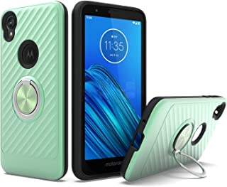 UNC Pro 2 in 1 Cell Phone Case with 360 Degrees Rotating Ring Kickstand for Motorola Moto E6, TPU Hybrid Shockproof Bumper Anti-Scratch Dual Layer Case, Mint Green