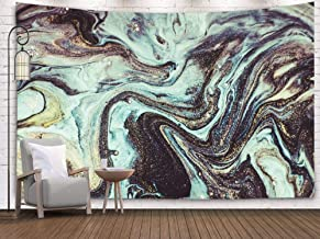 Sertiony Hanging Wall Tapestry, Art Map Tapestry Décor 80X60 Inches of Designing Art Swirls Marble and The Ripples Agate Art Natural Pattern for Bedroom Colorful Big Tapestries,Ivory Black