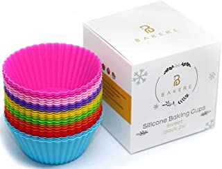 Silicone Cupcake Baking Cups, Reusable & Non Stick, European LFGB Silicone Muffin Liners, BPA Free, Pack of 24, 8 Rainbow Colors