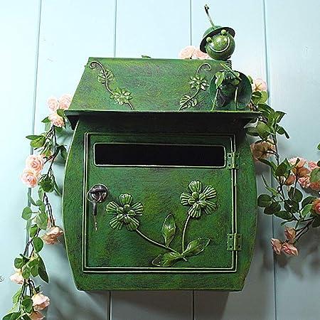 24,5 Cm Cassetta per LUfficio Domestico Decorazione DIYARTS Cassetta delle Lettere retr/ò in Ferro Battuto Bocca dAquila Design a Doppia Apertura 39,5 Green