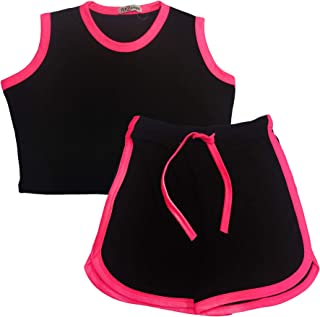 Kids Girls Shorts Set 100% Cotton Contrast Taped Summer Top & Hot Short 5-13 Yrs