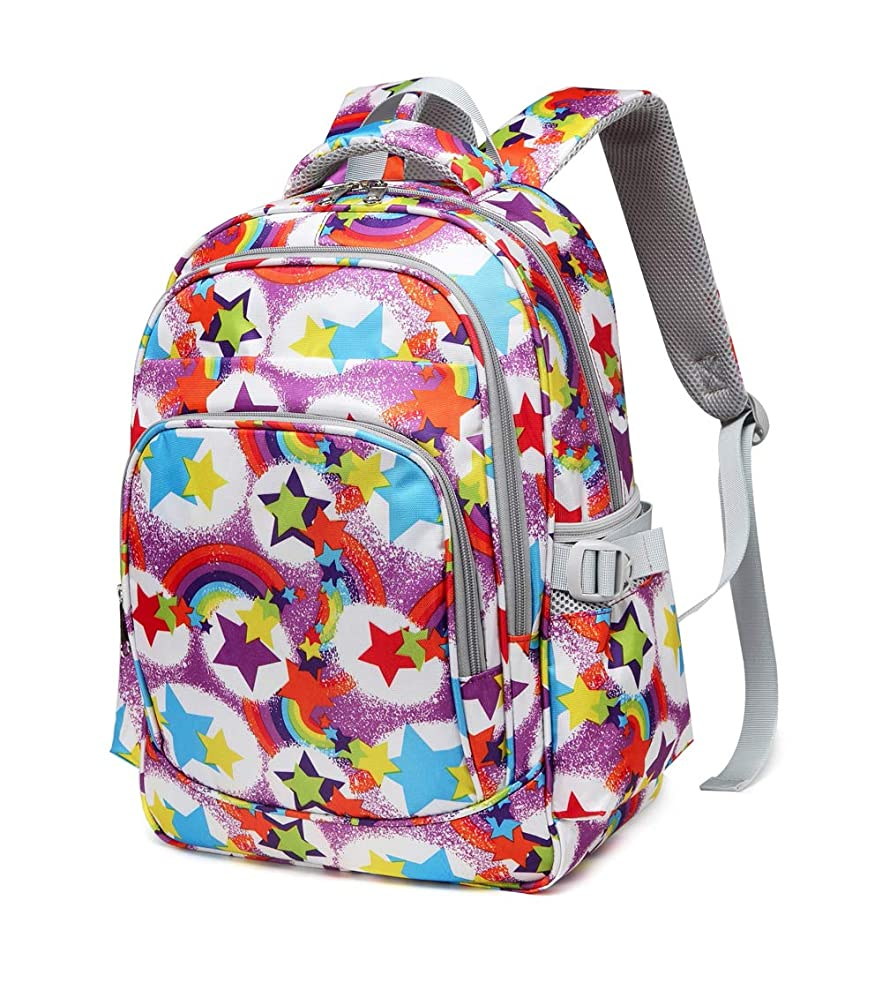 BLUEFAIRY Girly Girls Backpacks for Kindergarten Elementary School Bags for Kids Cute Lightweight Children Bookbags (Rainbow,Purple)