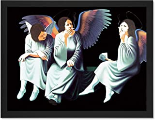Doppelganger33 LTD Music Album Cover Black Sabbath Heaven Hell Smoking Angels Large Framed Art Print Poster Wall Decor 18x24 inch Supplied Ready to Hang