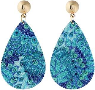 Bravetoshop Earrings for Women Boho Jewelry Vintage Leaf Acrylic Resin Minimalist Drop Dangle Earrings Bohemian Statement Hoop Earrings Set for Girls