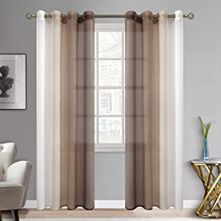BGment Ombre Sheer Curtains Faux Linen Grommet Light Filtering Semi Sheer Gradient Window Curtain Pair for Bedroom Living Room, Set of 2 Panels (Each 52 x 84 Inch, Light Brown)