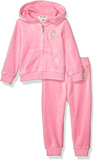 Baby Girls 2 Pieces Hooded Velour Jog Set