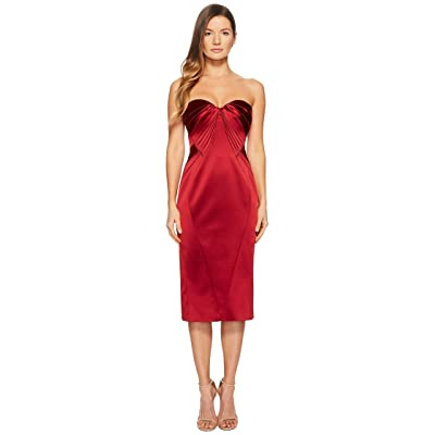 Zac Posen Sleeveless Sweetheart Stretch Satin Dress (Cardinal Red) Women