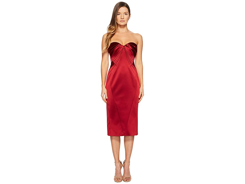 Zac Posen Sleeveless Sweetheart Stretch Satin Dress (Cardinal Red) Women